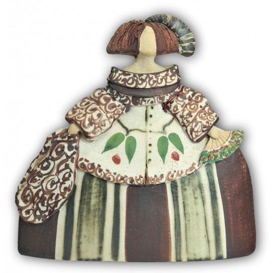 Menina de cerámica de Rosa Luis Elordui M-9 Vestido Marrón