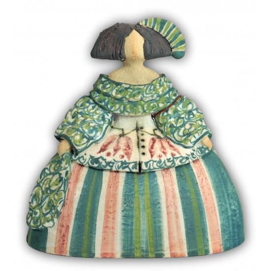 Menina de cerámica de Rosa Elordui M-11 Vestido Verde