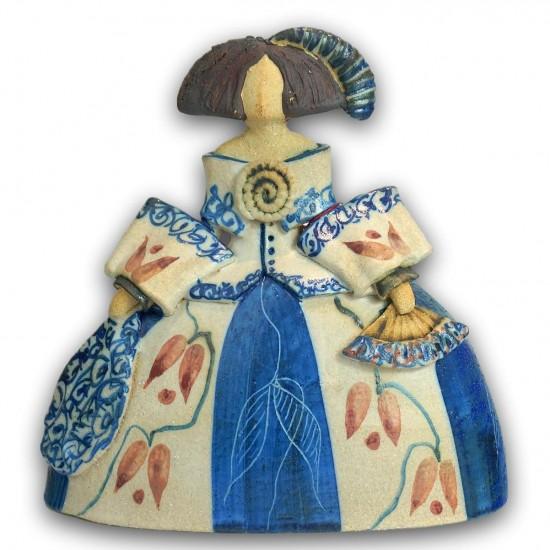 Rosa Elordui Ceramic Menina M-11 Blue Dress