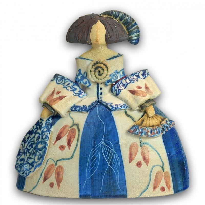 Menina de cerámica de Rosa Elordui M-11 Vestido Azul
