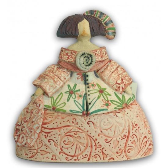 Ceramic Menina by Rosa Luis Elordui M-11 Pink Dress