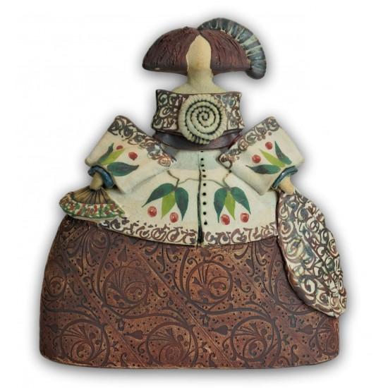 Ceramic Menina by Rosa Luis Elordui M-18 Bronze Dress