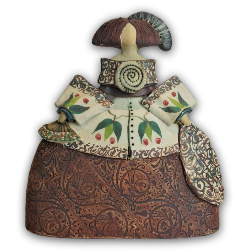 Menina de cerámica de Rosa Luis Elordui M-18 Vestido Bronce