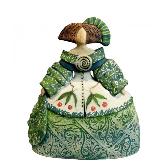 Ceramic Menina by Rosa Luis Elordui M-18 Green Dress
