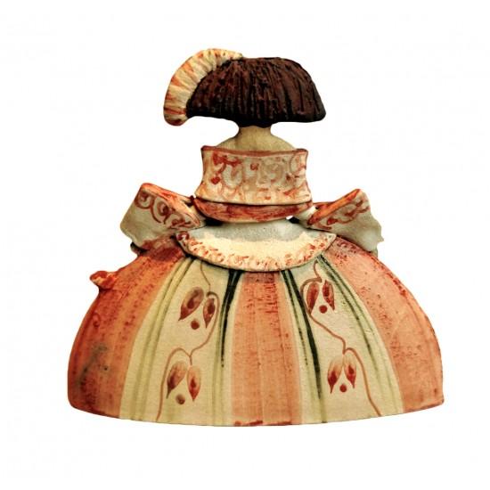 Figura de cerámica de Rosa Elordui Menina M-8 Vestido Rojo