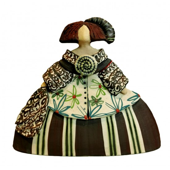 Figura de cerámica Menina de Rosa Elordui, modelo M-8 Vestido Bronce_detras