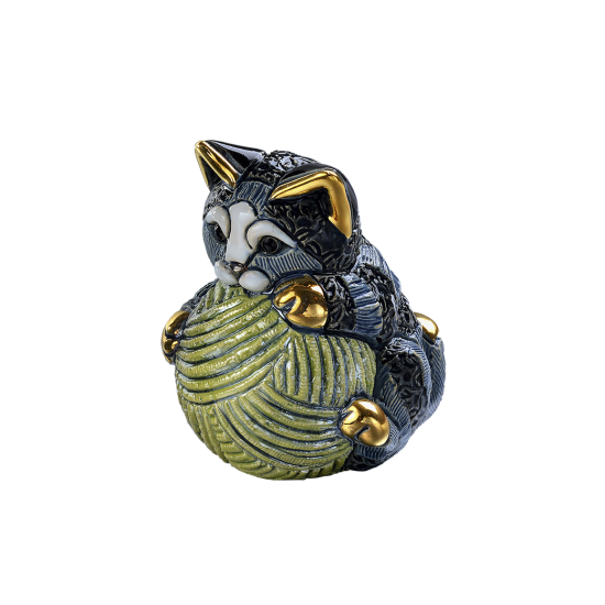 Ceramic figure of a small cat with a ball