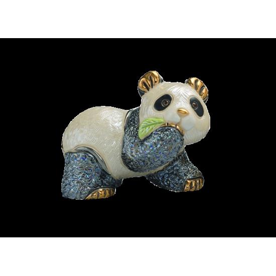 Figura de cerámica oso panda comiendo bambú de De Rosa