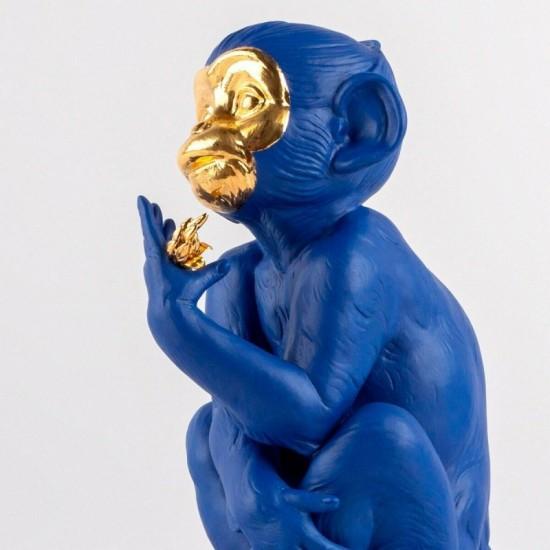Lladró porcelain figurine of a blue-gold monkey