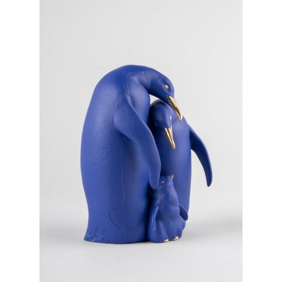 Figura de porcelana Lladró Familia de pingüinos (azul-dorado)
