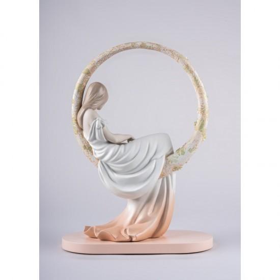 Figura de porcelana Lladró En sus pensamientos_vista trasera