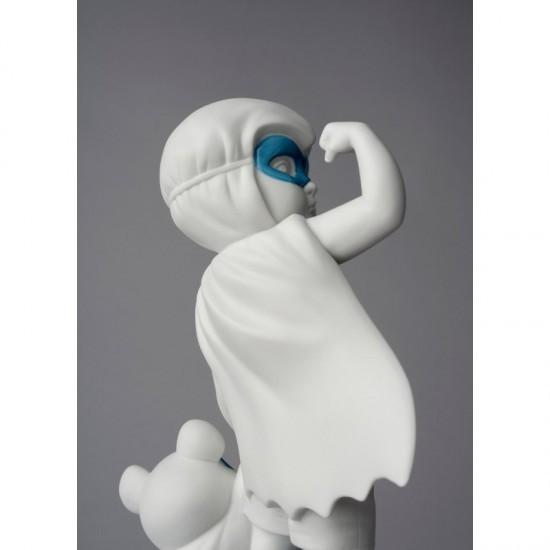 Figura de porcelana Lladró Bebé superheroe con osito de peluche_vista trasera