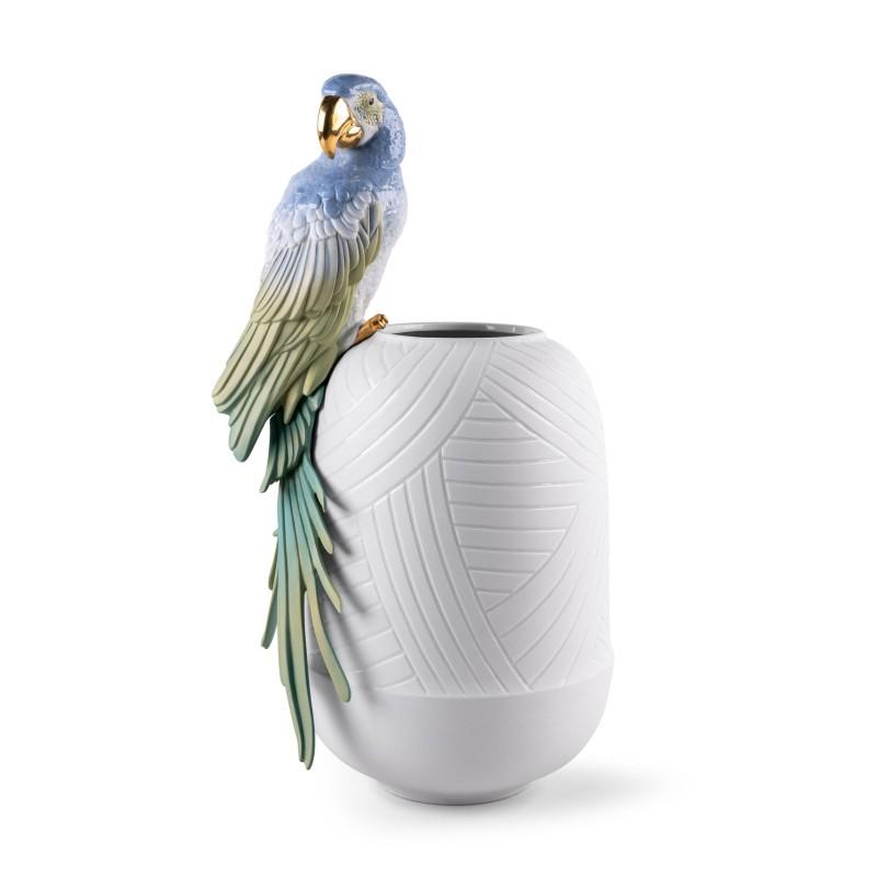 Lladró Macaw porcelain vase