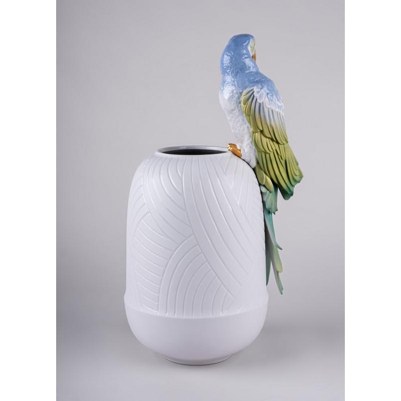 Lladró Macaw porcelain vase_back view