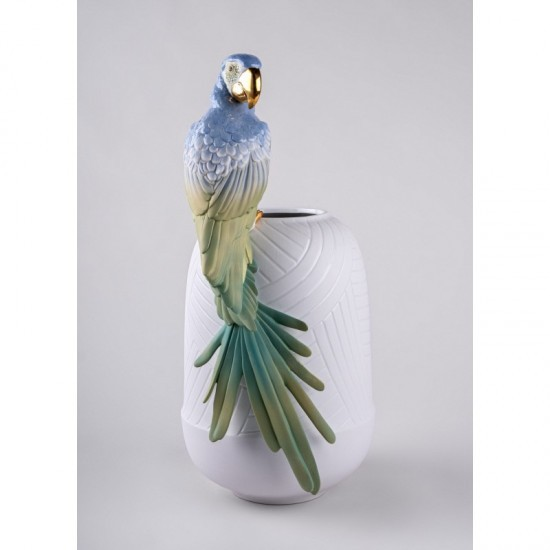 Lladró Macaw porcelain vase_profile