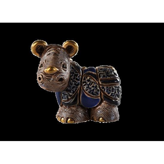 Cría de rinoceronte de cerámica hecha a mano