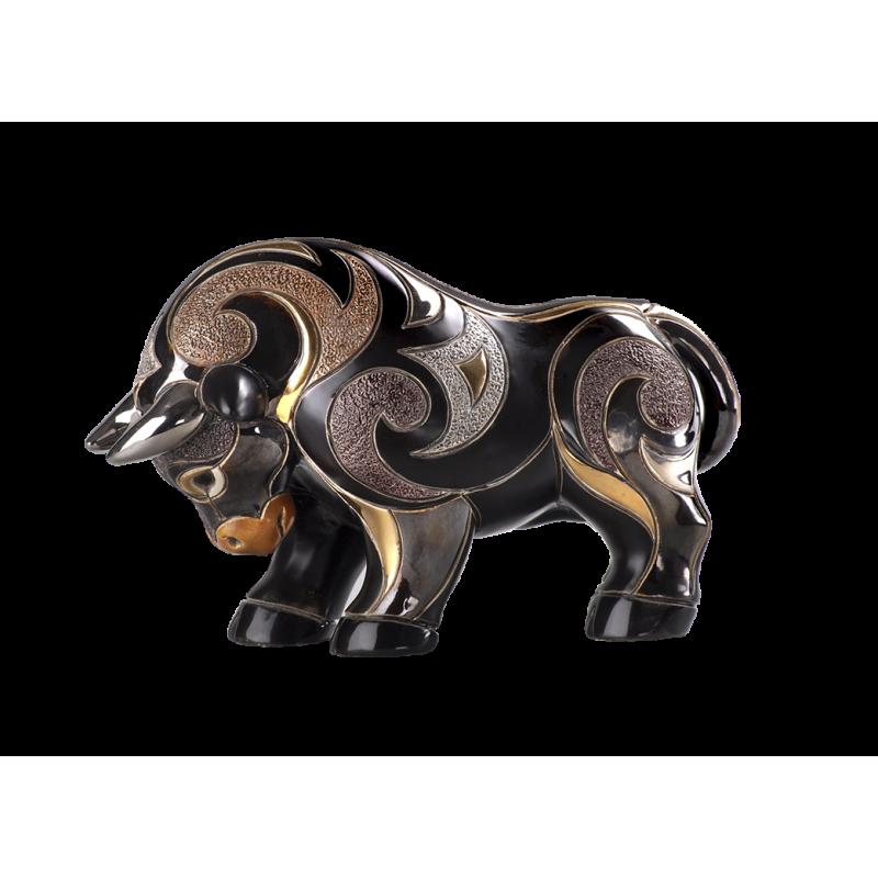 Toro negro de cerámica. Animales de cerámica De Rosa