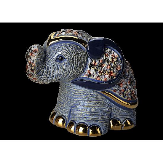 Elefante azul de cerámica. Animales de cerámica De Rosa