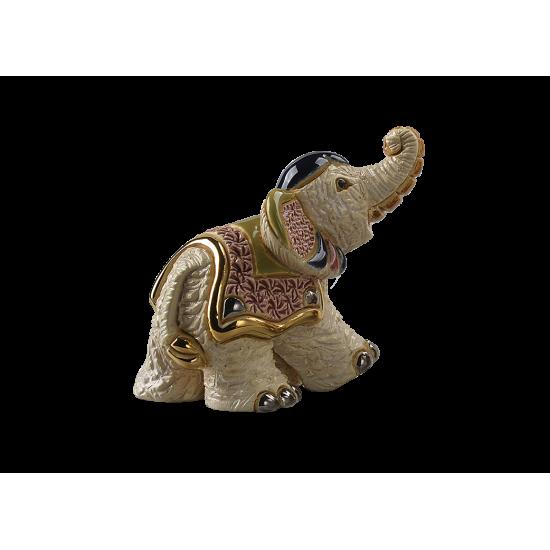 Ceramic baby white elephant. Ceramic Animals De Rosa