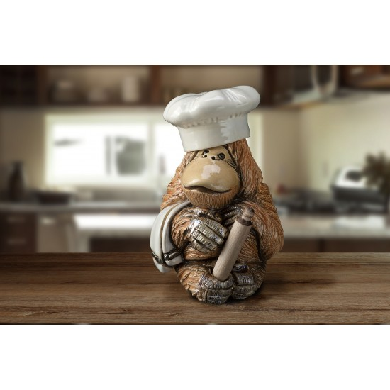 Figura de cerámica Cocinero orangután