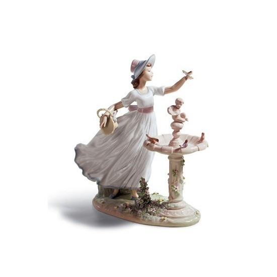 Figura de porcelana de Lladró Pajaritos en la Fuente