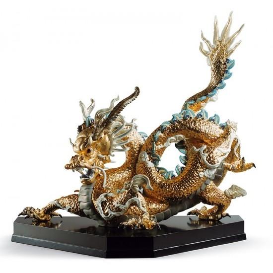 Figura de porcelana Lladró Gran Dragón (Oro)